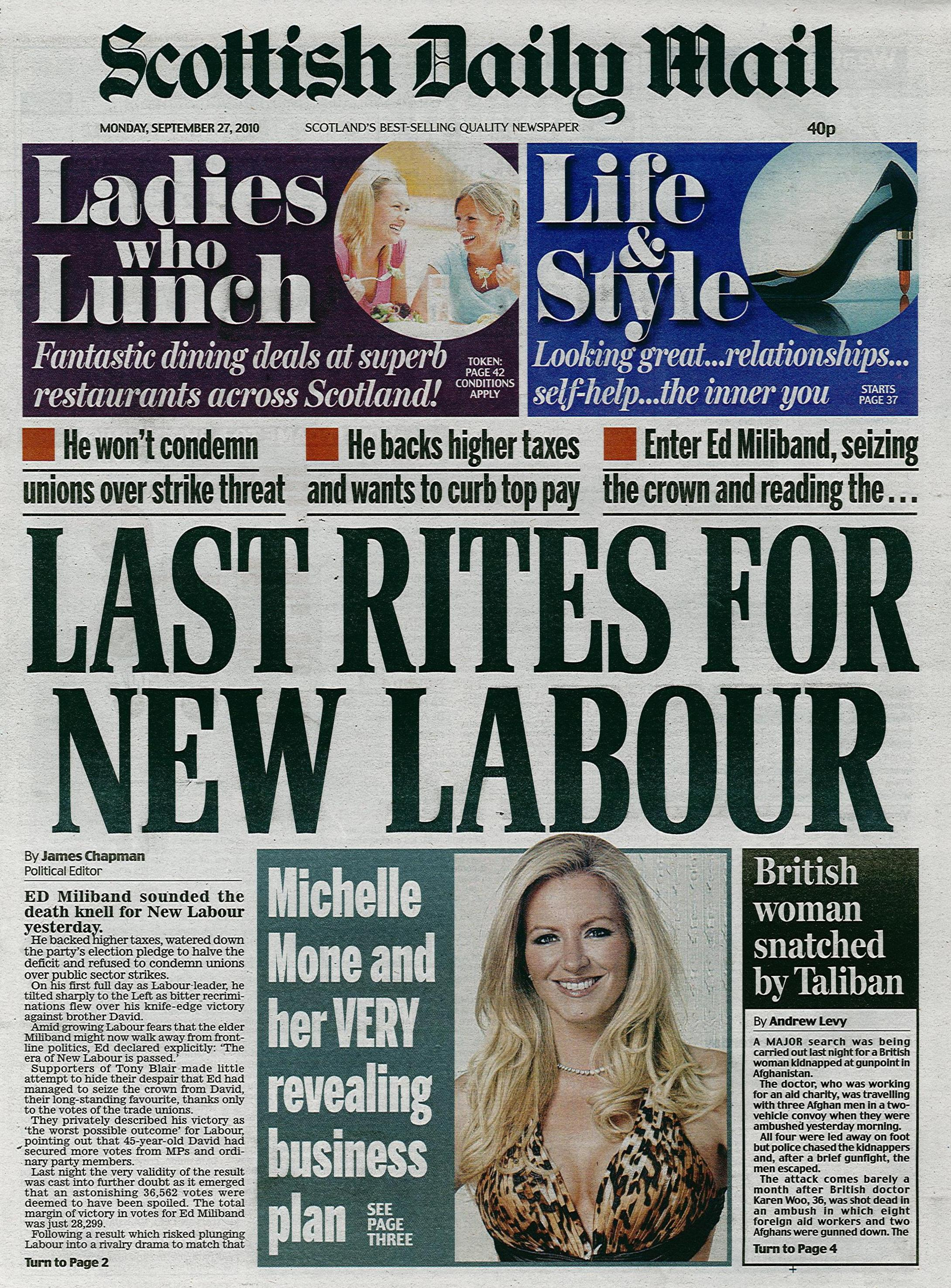 Scottish-Daily-Mail_Michelle-Ultimo-Campaign_Front-Page-Mon27thSep