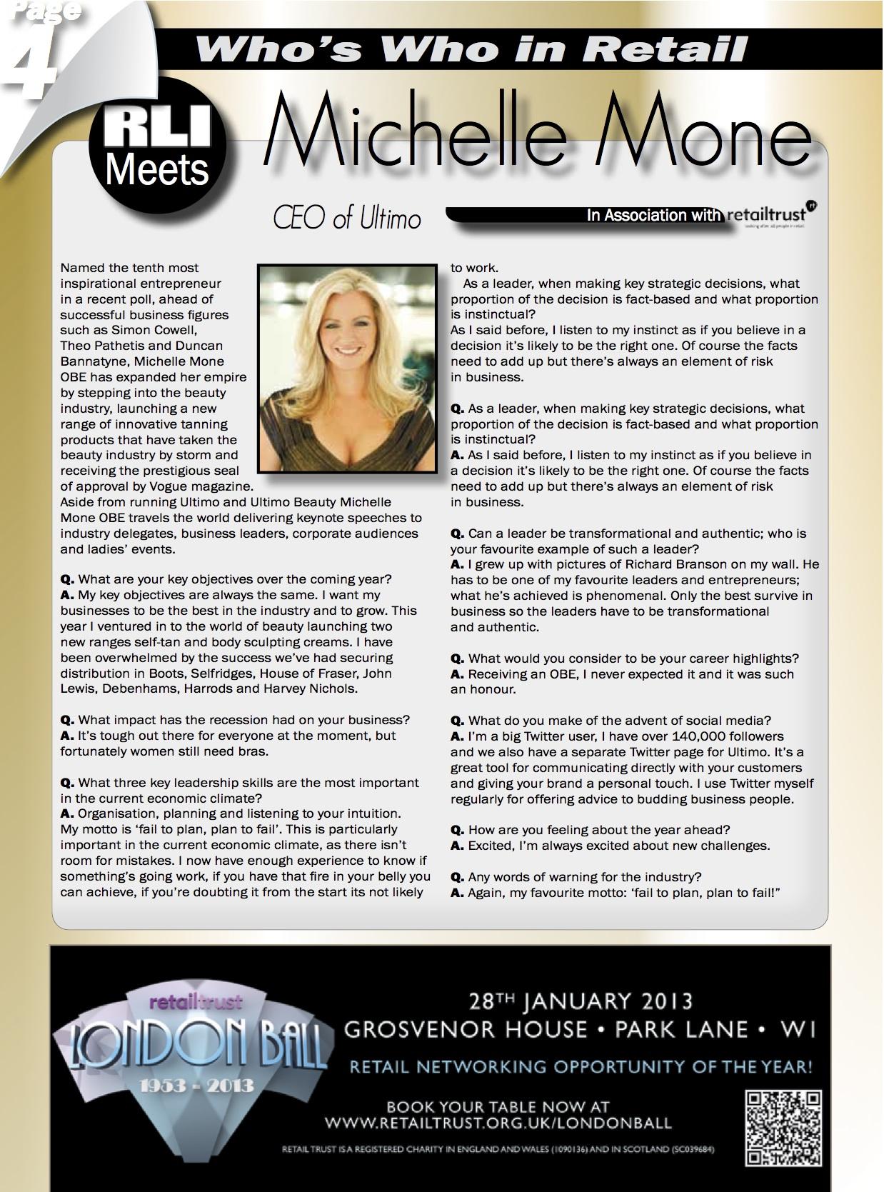 RLIMagazineMichelleMone-Friday31stAugust2012